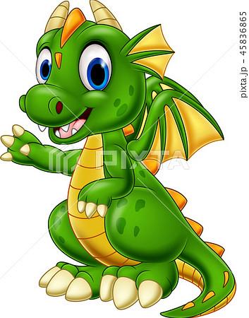 Cartoon baby dragon presenting 45836865