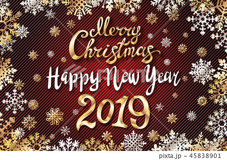 vector gold Merry Christmas Happy new year 2019 45838901