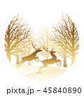森 林 トナカイのイラスト 45840890