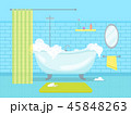 Cartoon Bathroom Bathtub with Foam Card Poster. Vector 45848263