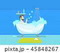 Cartoon Man in Bathroom Bathtub with Foam Hygiene Concept. Vector 45848267