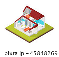 Home in Section Concept 3d Isometric View. Vector 45848269