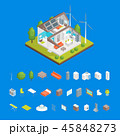 Solar Cell System in Home and Elements Concept 3d Isometric View. Vector 45848273