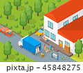 Delivery Moving Card Poster Concept 3d Isometric View. Vector 45848275