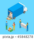 Delivery Moving Elements Concept 3d Isometric View. Vector 45848278