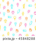 Ice Cream Signs Thin Line Seamless Pattern Background. Vector 45848288