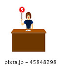 Cartoon Woman Judge Jury Character Showing or Voting Hand Up. Vector 45848298