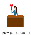Cartoon Girl Judge Jury Character Showing or Voting Hand Up. Vector 45848301