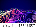 3D Sound waves with colored dots. Big data abstract visualization. 45848657