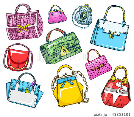 Women s bags. Vintage style. Hand drawn doodle fashion accessories. Set of Patch and Pins. 45853101