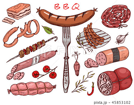Meat food, sausage and steak for bbq and picnic. Doodle Signs for menu. Vintage engraved 45853102
