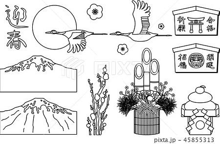 年賀状素材 セット 和風素材 白黒 線画のイラスト素材 45855313