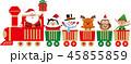 おもちゃの汽車に乗ったかわいいクリスマスのキャラクター。ベクター素材 45855859