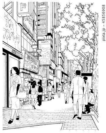 漫画風ペン画イラスト 繁華街のイラスト素材 45856908 Pixta