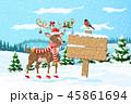 クリスマス トナカイ 森林のイラスト 45861694
