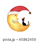 月 ねこ ネコのイラスト 45862450