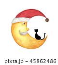 月 ねこ ネコのイラスト 45862486