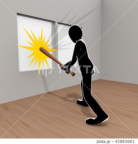破壊 / 窓 / 犯罪 / 暴力 / 人物 / 3Dイラスト 45863061