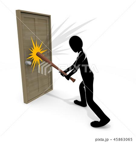 破壊 / ドア / 犯罪 / 暴力 / 人物 / 3Dイラスト 45863065