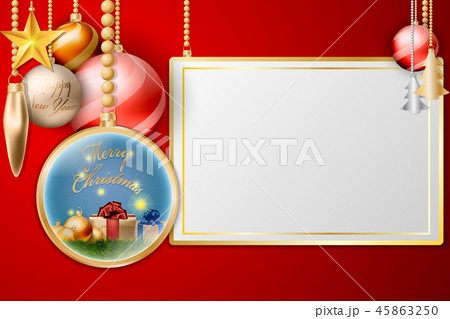 Christmas Balls Hanging Decoration with Gold frame 45863250