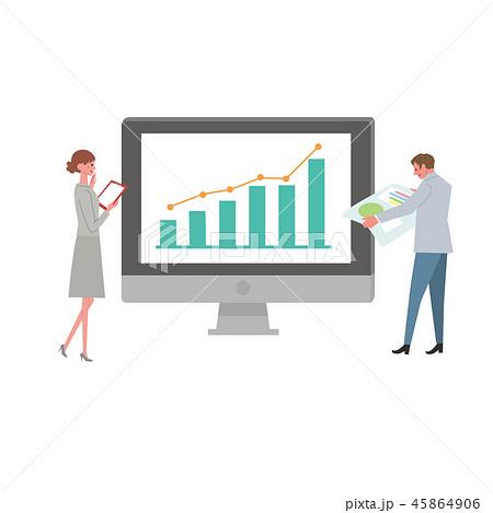 ビジネスイメージ イラスト パソコン IT ネットワーク 45864906