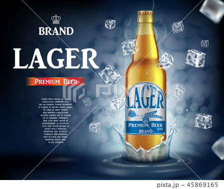 Craft lager beer ads with splashing. Realistic glass beer bottle with flying ice cubes on shiny blue 45869165
