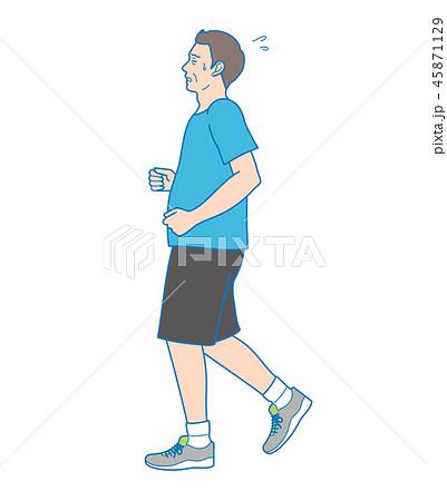 苦しそうにジョギングをしている男性 45871129