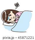 不眠症 不眠 女性のイラスト 45871221