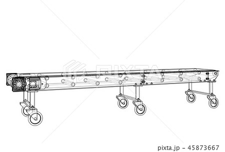 3D outline conveyor belt. Vector rendering of 3d 45873667