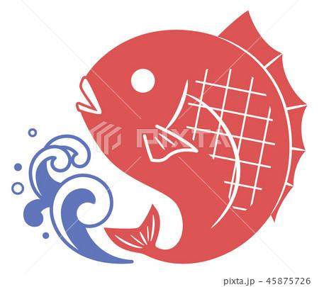 鯛と波のシルエットイラスト 45875726