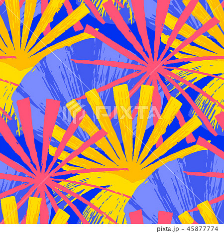Abstract vector seamless pattern of exotic leaves in vivid colors. 45877774