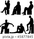Set ilhouette girl sitting on a chair white  45877845