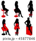 Set ilhouette girl sitting on a chair white  45877846