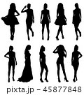 Set beautiful fashion girl silhouette on a white  45877848