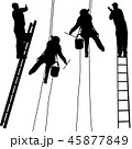 Silhouette worker climbing the ladder on white  45877849