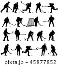 Set of silhouettes of hockey player. Isolated  45877852