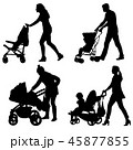 Set silhouettes walkings mothers with baby  45877855