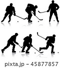Set of silhouettes of hockey player. Isolated 45877857