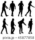 Black silhouette group of people standing  45877858