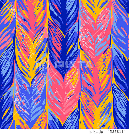 Abstract vector seamless pattern of exotic leaves in vivid colors. 45878114