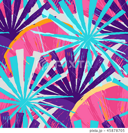 Abstract vector seamless pattern of exotic leaves in vivid colors. 45878705