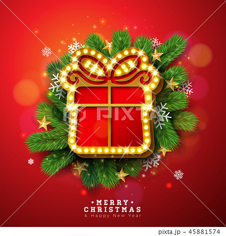 Merry Christmas and Happy New Year Illustration with Light Sign Board and Pine Branch on Red 45881574