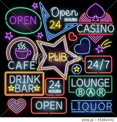 Neon bar illumination vector signs 45882042