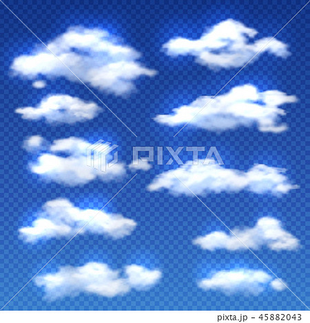 Realistic vector clouds isolated on checkered background 45882043