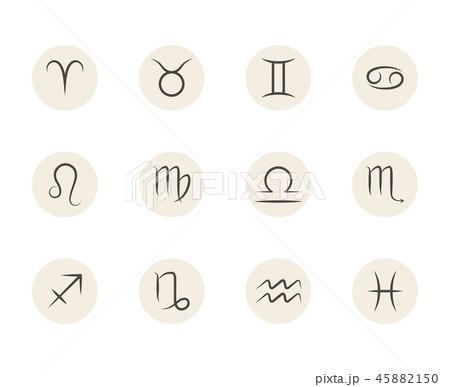 Set of vector Zodiac signs in circles white background 45882150