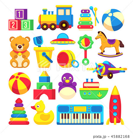Kids toys cartoon vector icons collection 45882168