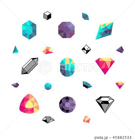 Color crystals, diamond shapes, polygon stones vector set 45882533