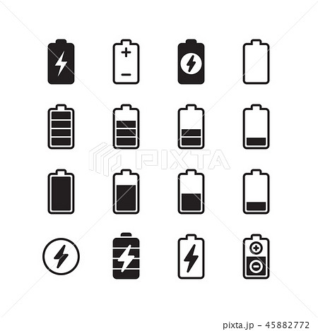 Electric battery, accumulator energy vector icons set 45882772