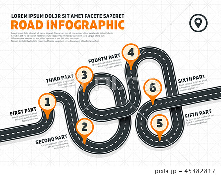 Street, road business marketing vector infographics template with pin signs 45882817