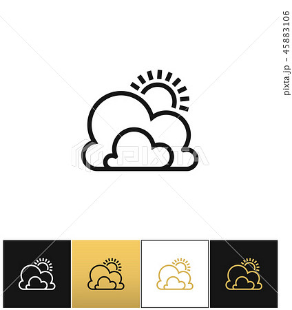 Weather symbol or sun and clouds outline vector icon 45883106
